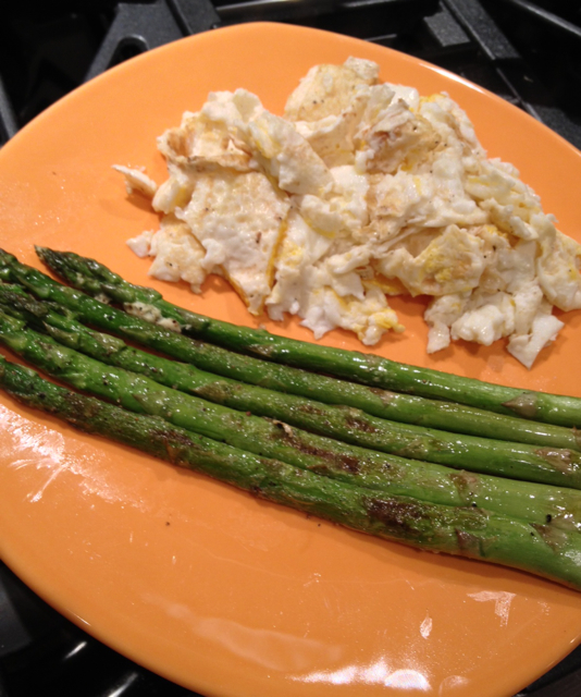 eggs and asparagus plate